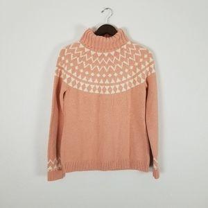 Duluth raglan pink knit turtle neck sweater sz S